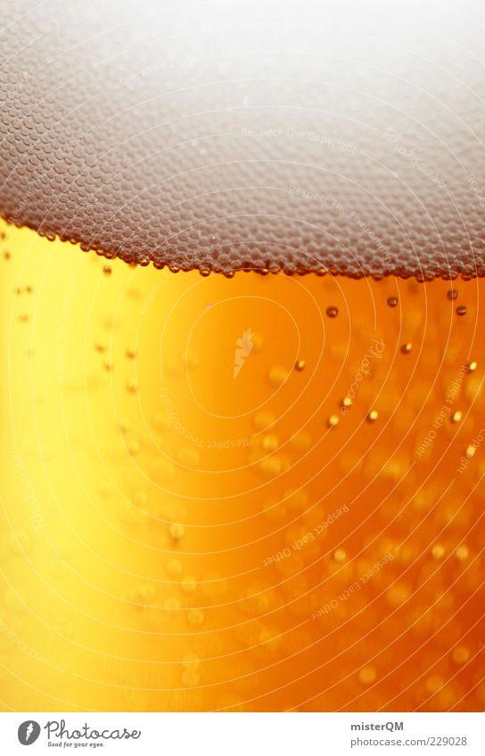 Braukunst. Lebensmittel Getränk Erfrischungsgetränk Alkohol Bier Bierglas Bierschaum Gezapftes prickeln Kohlensäure Blase weiß gelbgold Rauschmittel lecker