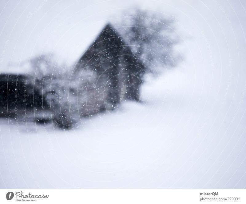 Wintermärchen. ästhetisch Schneefall Schneelandschaft Hexenhaus Hütte Unwetter Schneeflocke Schneesturm Schneedecke Unschärfe Winterstimmung Wintertag