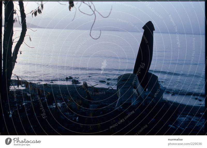 verlassenes Idyll Natur Meer Sommer Strand Einsamkeit Ferne dunkel Landschaft Stimmung dreckig Insel Lifestyle trist Stuhl beobachten Bucht
