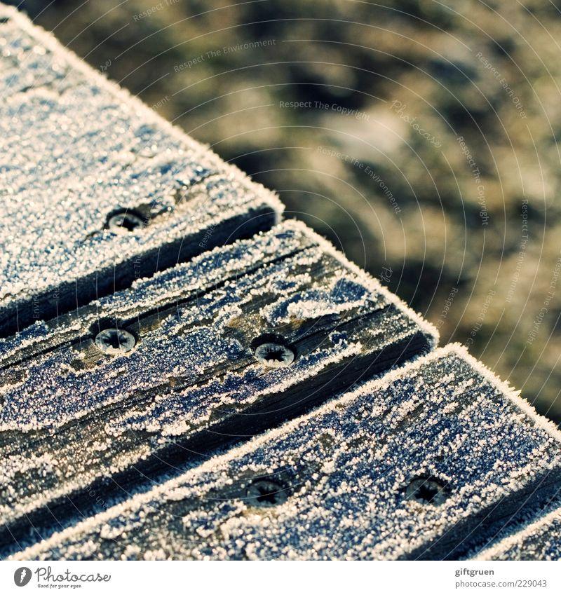 eiskalt Winter Klima Wetter Eis Frost Schnee Schraube Metallwaren Holz Holzbrett Holzplatte gefroren Eiskristall klirrende Kälte Farbfoto Außenaufnahme