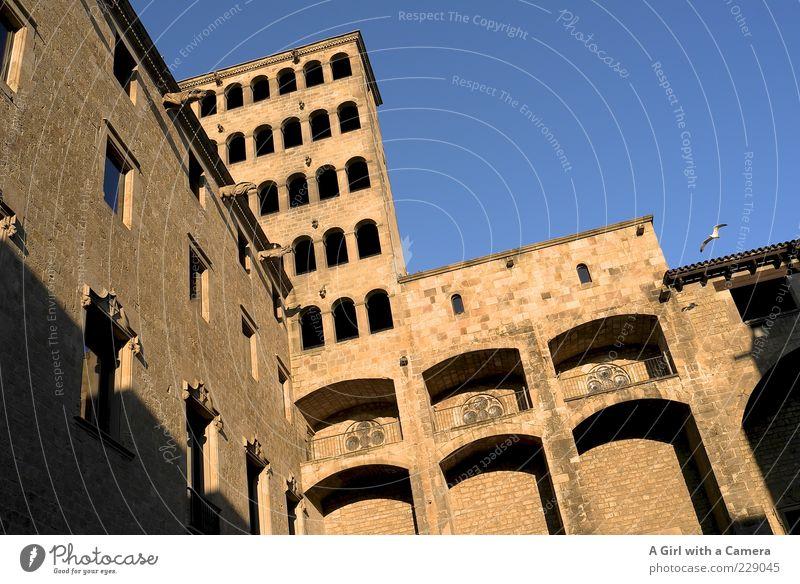 Barri Gothic Barcelona alt blau Stadt Fenster Wand Architektur Mauer Gebäude Kraft gold Fassade einzigartig Bauwerk Idylle historisch