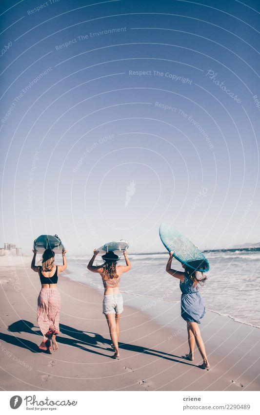 Gruppe Freunde, die in den Ozean surfen gehen Frau Mensch Ferien & Urlaub & Reisen Sommer Sonne Meer Freude Strand Erwachsene Lifestyle feminin Menschengruppe