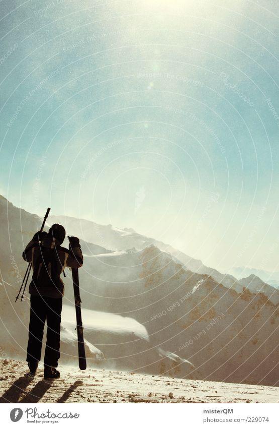Vorfreude. Mann Natur Winter Ferne Freiheit Berge u. Gebirge Wind Abenteuer Skifahren Niveau Alpen Gipfel Österreich Schneelandschaft Gletscher Wintersport