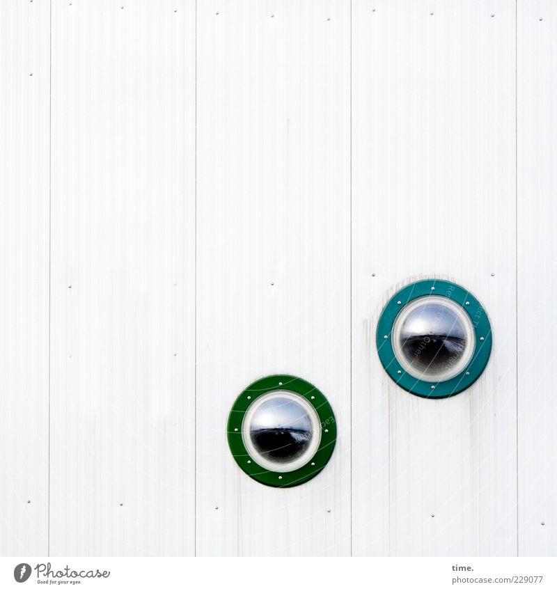 Watching Flatfish Watching blau grün weiß Fenster Wand klein Mauer hell Glas ästhetisch Sicherheit Kreis rund beobachten Kontrolle Fensterscheibe