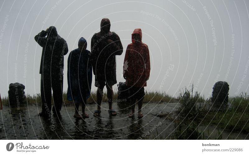 4vics Kind Wasser Erwachsene Regen Familie & Verwandtschaft warten nass Ausflug Abenteuer Klima stehen außergewöhnlich Akzeptanz Regenjacke bedauerlich