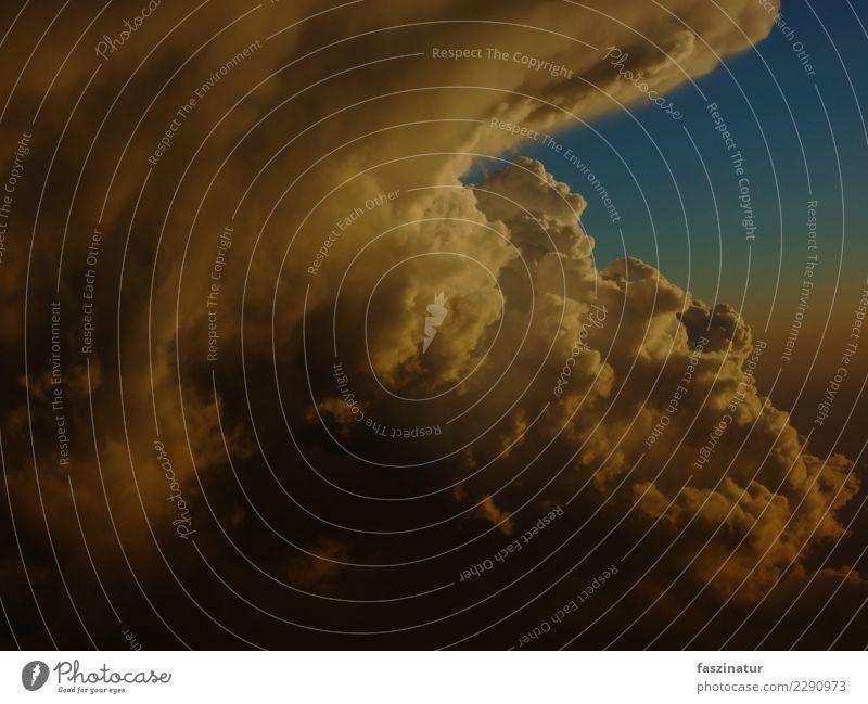 gewittrige schönheit Luft Gewitterwolken Sonnenaufgang Sonnenuntergang Wetter Unwetter ästhetisch bedrohlich Unendlichkeit blau gelb grau orange weiß Abenteuer