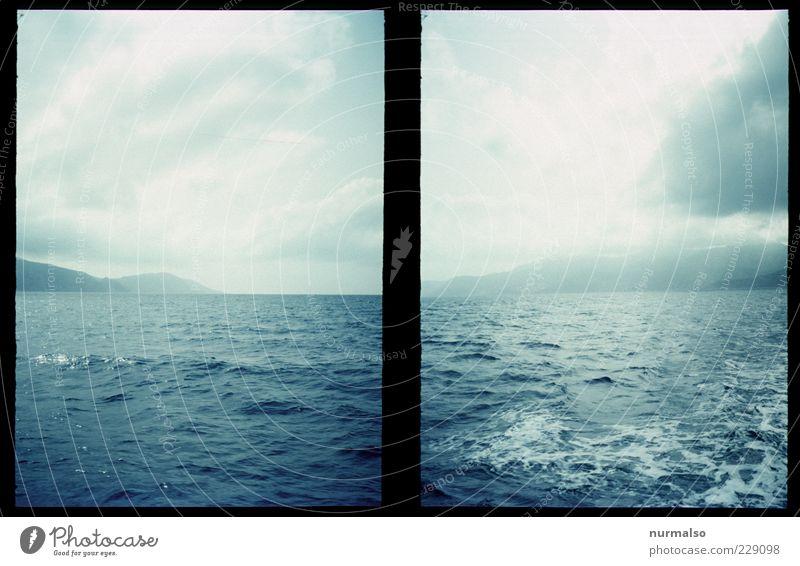 2mal Nebelverhangen Natur Wasser Meer Ferne Freiheit Landschaft Wetter Wellen Insel Klima Lifestyle Urelemente Schaum Klimawandel schlechtes Wetter