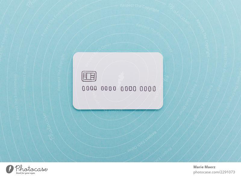 Brandneue Kreditkarte aus weißem Papier gebastelt. blau frei Erfolg kaufen Geld Unendlichkeit Risiko Geldinstitut Reichtum bezahlen Kapitalwirtschaft Konsum