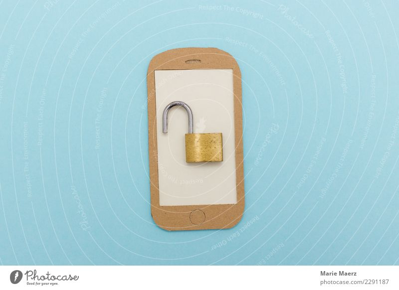 Handy Sicherheitslücke blau modern offen Kommunizieren Telekommunikation gefährlich Neugier Risiko Informationstechnologie Wachsamkeit Schloss PDA