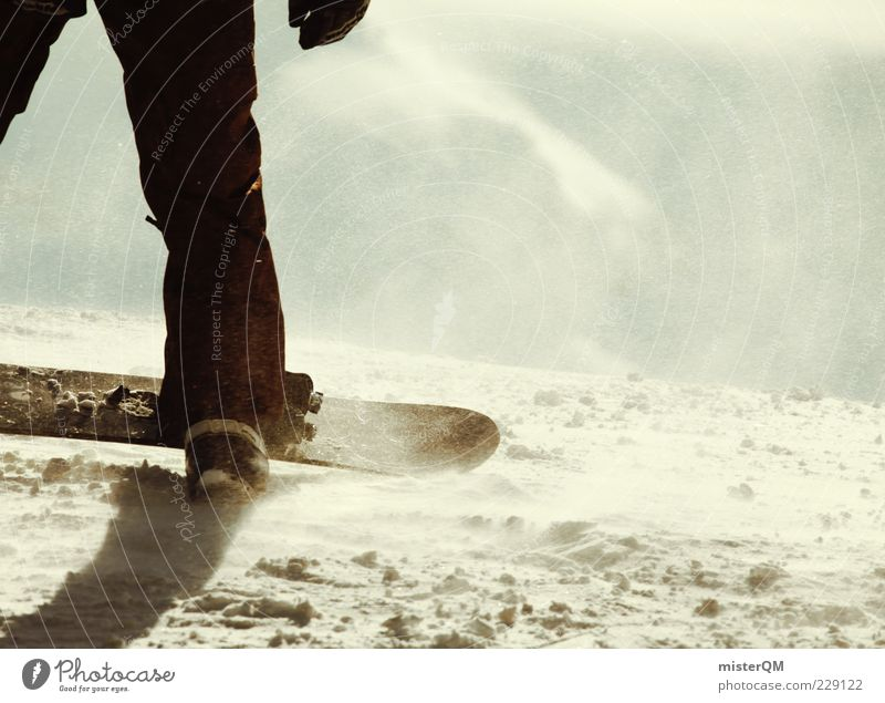 Whiteout. Jugendliche weiß Winter Berge u. Gebirge Schnee Sport Beine Lifestyle Freizeit & Hobby modern Aktion Wind trendy Sportler Snowboard Nervenkitzel