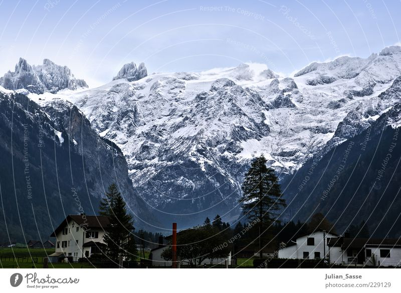 Panoramablick Umwelt Natur Landschaft Urelemente Himmel Wolkenloser Himmel Horizont Winter Wetter Eis Frost Schnee Alpen Berge u. Gebirge Gipfel