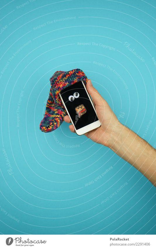 #AS# crazy phone Medien Neue Medien Internet E-Mail Computerspiel Kitsch verrückt Anzeige Bildschirm blau Handy App Mütze kalt Eigenleben digital