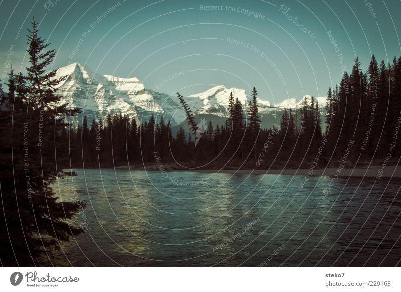 Canadian Sunset Natur blau Ferien & Urlaub & Reisen schwarz ruhig Wald Ferne Erholung Landschaft Berge u. Gebirge Reisefotografie Sauberkeit Fluss Idylle