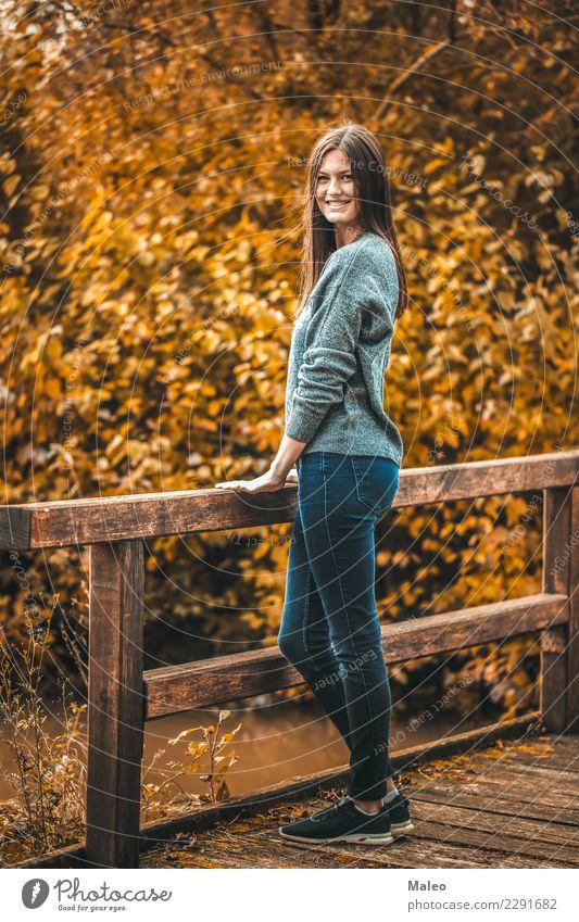 Herbstrhapsodie Frau Mensch Natur Junge Frau schön rot Blatt Mädchen gelb Stil Glück Haare & Frisuren Lächeln Romantik Brücke