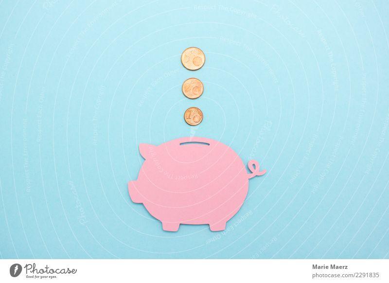 1 2 3 Münzen fliegen ins Sparschwein Kapitalwirtschaft Geldinstitut Spardose Geldmünzen sparen einfach blau rosa sparsam Reichtum Zukunft Geld sparen Zinsen