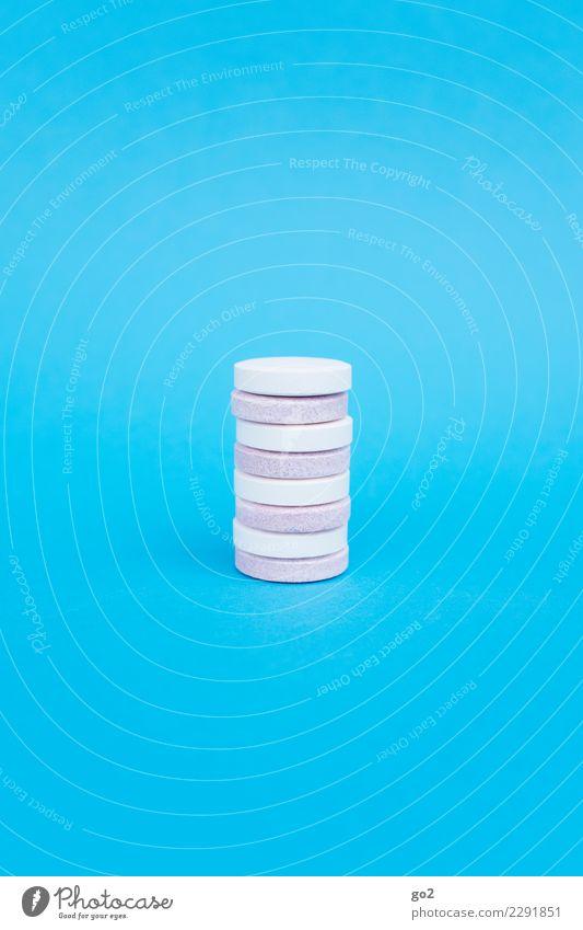 Tabletten Diät Gesundheit Gesundheitswesen Behandlung Gesunde Ernährung Medikament Vitamin Vitamin C rund blau rosa weiß vitamintabletten Farbfoto Innenaufnahme