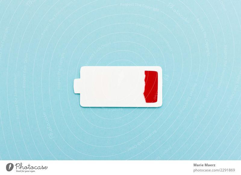 Akku leer. Silhouette eines leeren Batterie-Symbols. Erholung Technik & Technologie Diät trendy modern blau rot Erschöpfung Stress Energie Leistung Elektrizität