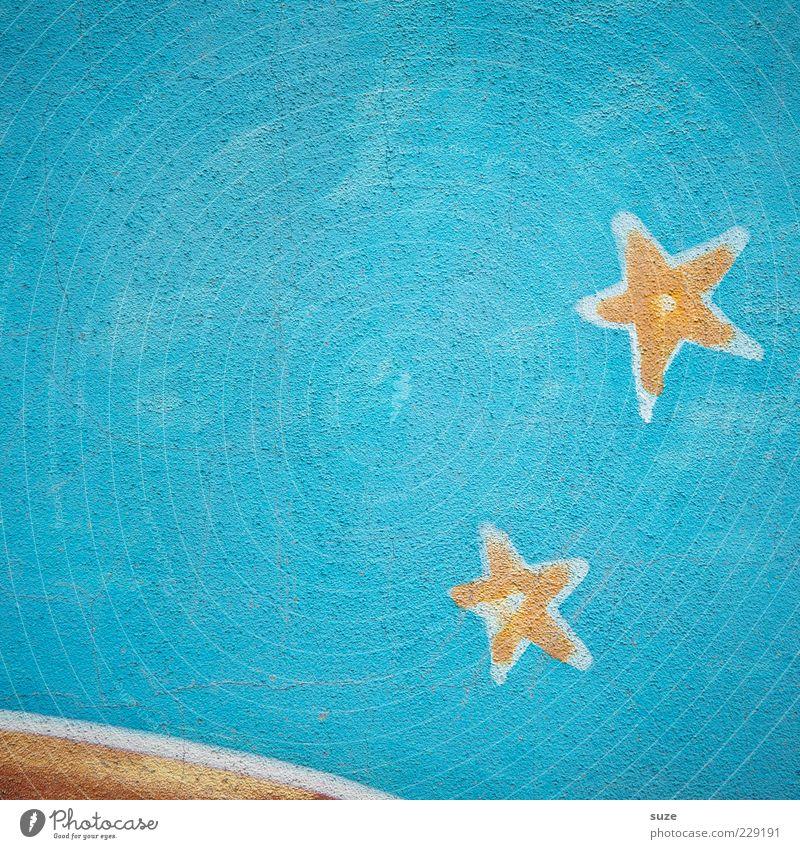 Sternstunde¹ Graffiti blau Stern (Symbol) Wand Putz Wandmalereien Sternenhimmel bemalt Farbfoto mehrfarbig Außenaufnahme Strukturen & Formen Menschenleer
