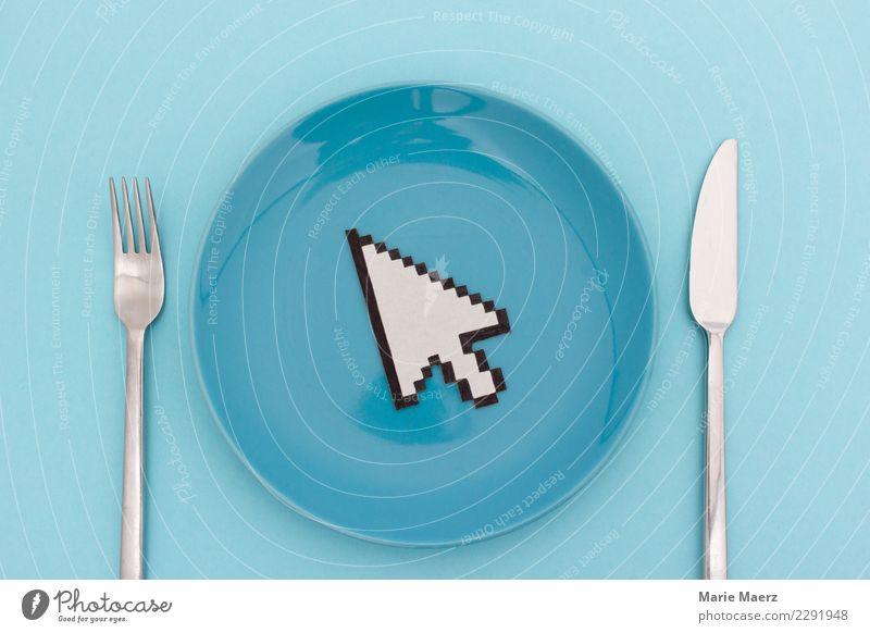 Essen online bestellen Erholung Lifestyle Ernährung Geschwindigkeit kaufen Neugier Internet türkis Dienstleistungsgewerbe Vorfreude Teller Abendessen