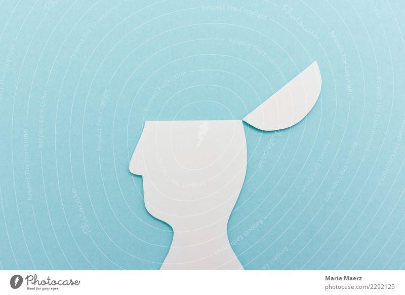 Kopf auf, Gedanken an | Silhouette Studium lernen 1 Mensch Denken entdecken frei Unendlichkeit oben blau weiß beweglich Weisheit klug Bildung Erfahrung Freiheit