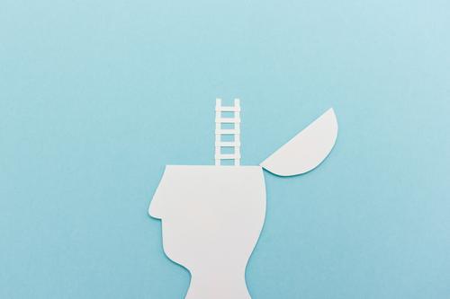 Neue Perspektive. Kopf Silhouette mit Leiter blau außergewöhnlich Freiheit Denken träumen frei Wachstum Erfolg Abenteuer lernen hoch Idee Studium Neugier