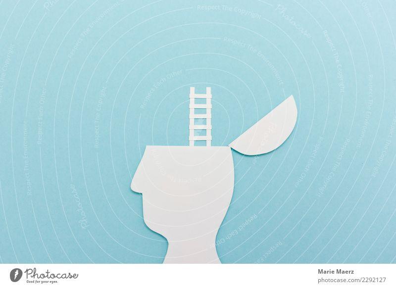 Neue Perspektive. Kopf Silhouette mit Leiter Studium lernen Karriere Denken entdecken träumen Wachstum außergewöhnlich Erfolg frei Unendlichkeit hoch Neugier