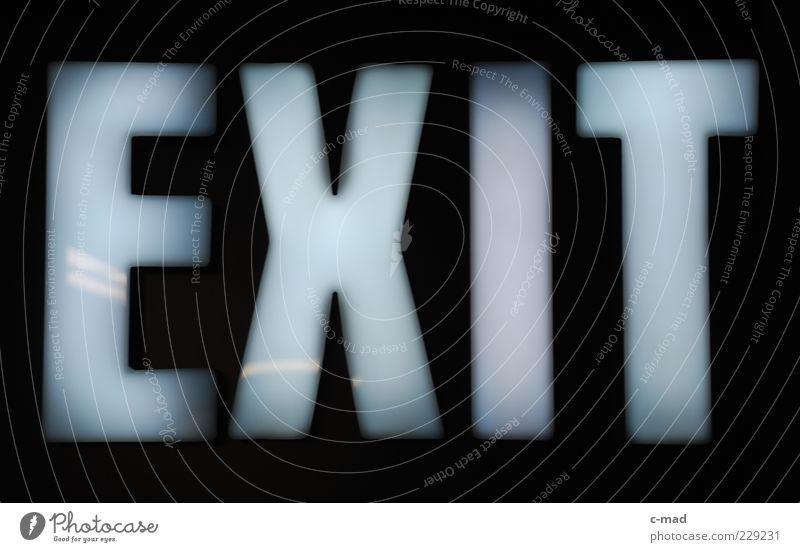 Exit weiß schwarz Glas Schilder & Markierungen Schriftzeichen leuchten Hinweisschild Kunststoff Wort Englisch Warnschild Notausgang Großbuchstabe