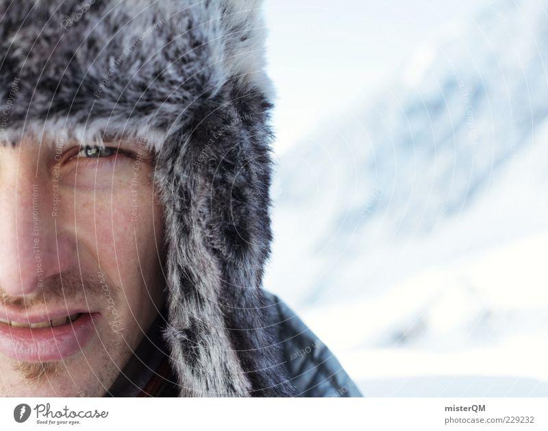 E.² Mensch Mann Winter Gesicht Auge kalt maskulin Mütze Bart frieren Anschnitt Bergsteiger Expedition Wissenschaftler Barthaare