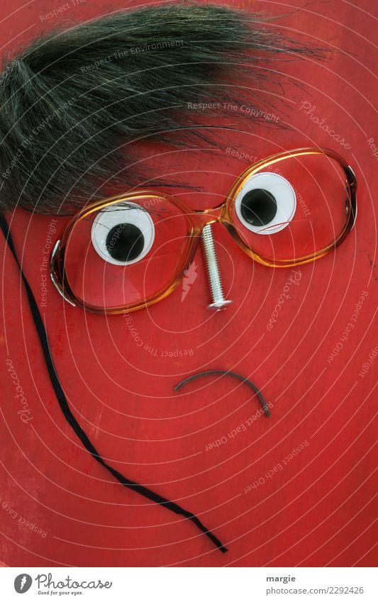 Emotionen...coole Gesichter: Collage rotes Gesicht mit Brille, ruhig bleiben! Bildung Wissenschaften Lehrer Mensch maskulin Mann Erwachsene Haare & Frisuren