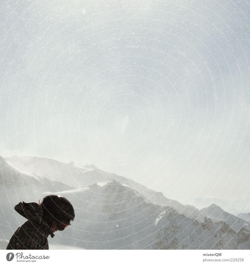 Hitzkopf. Mensch Himmel Freude Ferne Winter kalt Berge u. Gebirge Lifestyle oben Schneefall Freizeit & Hobby Wind Abenteuer Gipfel Alpen Sturm