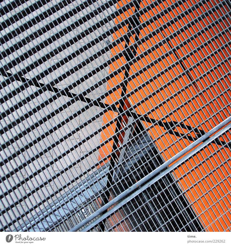 Schwindelfest (Test) Architektur Metall orange Angst Fassade ästhetisch Sicherheit Metallwaren bedrohlich Niveau Bauwerk Aussicht Loch Stress bizarr