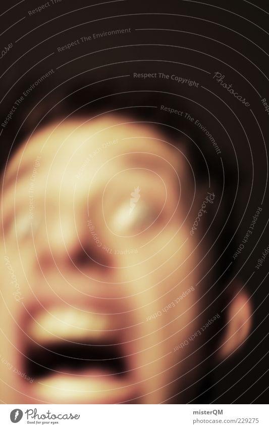 scary. Mann Gesicht Angst ästhetisch gefährlich bedrohlich gruselig Todesangst Gewalt schreien Risiko böse Flucht Rausch Panik unheimlich