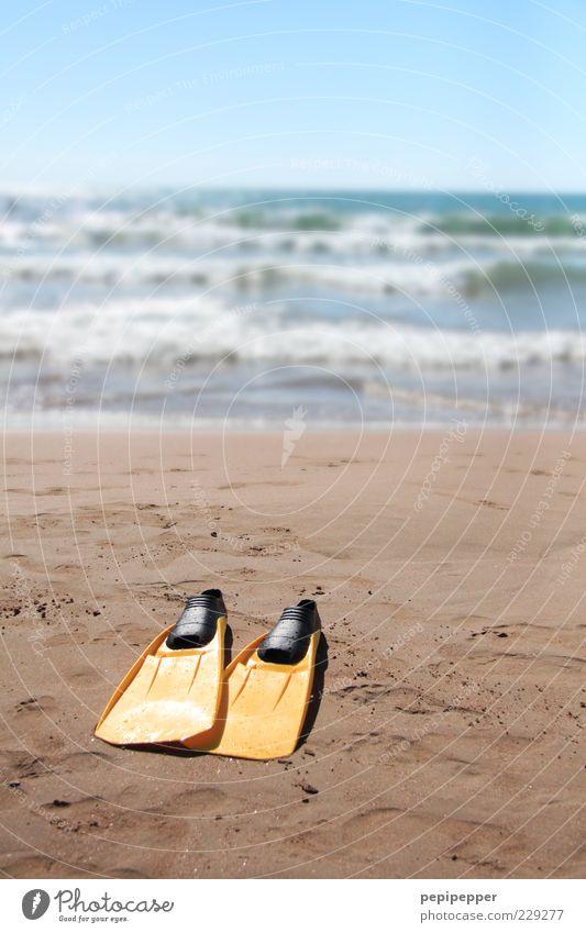 ein taucher der nicht taucht, taucht nichts Wasser Sonne Meer Sommer Strand Sand Horizont Wellen Freizeit & Hobby Sommerurlaub Brandung Schwimmhilfe Wassersport Blauer Himmel Wolkenloser Himmel Gischt