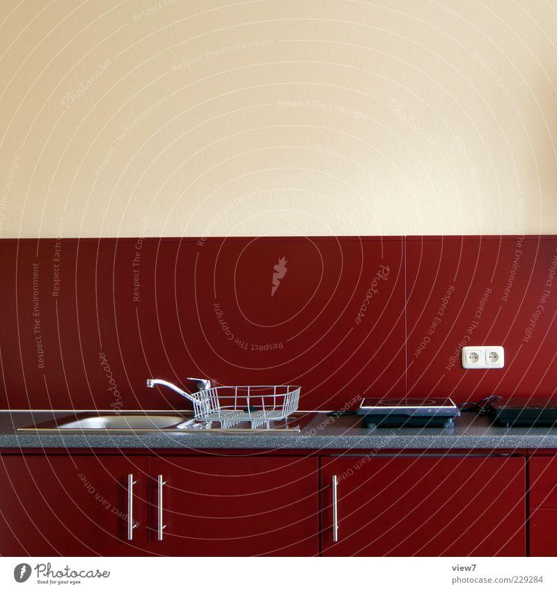 kitchen rot Holz klein elegant Wohnung Innenarchitektur modern frisch authentisch neu Häusliches Leben Küche Dekoration & Verzierung einfach rein einrichten
