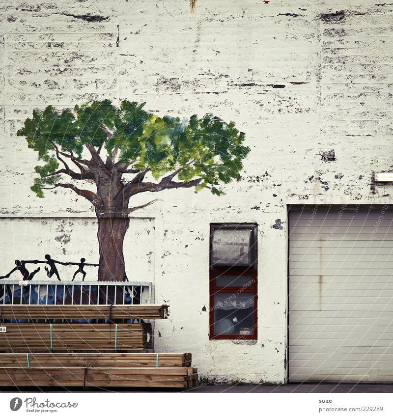 Baum der Erkenntnis Baum Haus Fenster Graffiti Wand Mauer Gebäude Fassade trist Vergänglichkeit trocken Gemälde Vergangenheit Bild Tor Holzbrett