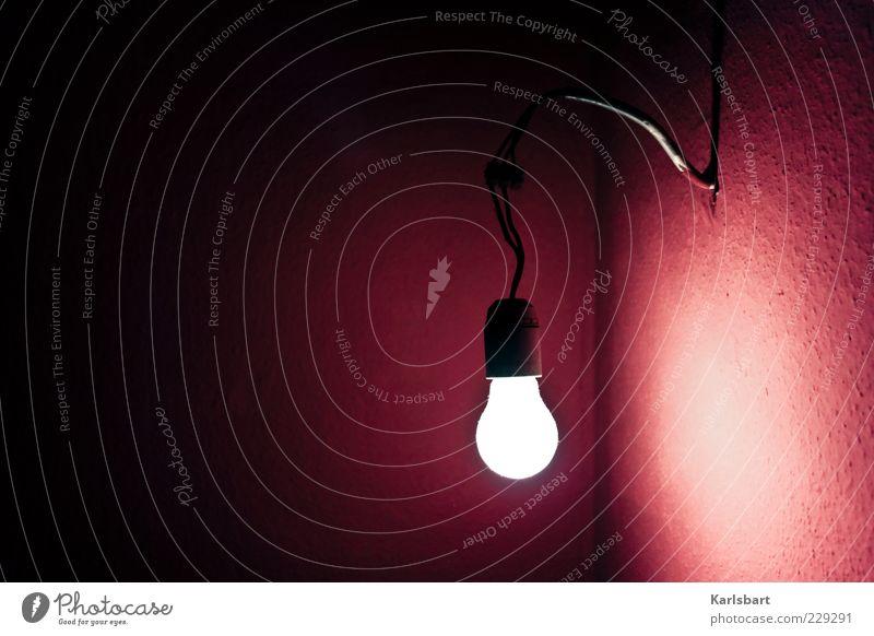 licht. in der dunkelheit. Wand Stil Mauer Lampe hell Raum Wohnung Energie Energiewirtschaft verrückt Elektrizität Lifestyle Kabel Zukunft leuchten Technik & Technologie