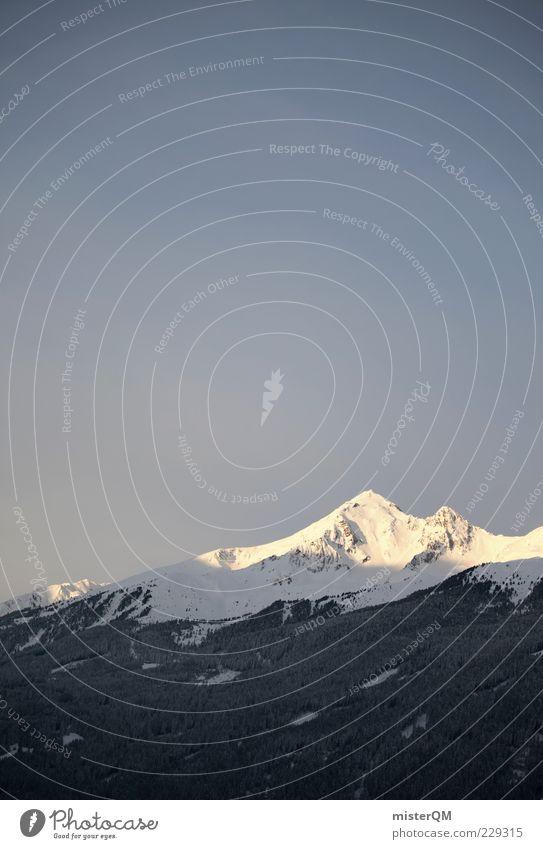 Alpenvorspiel. Himmel Winter ruhig Wald Ferne kalt Berge u. Gebirge Spitze Alpen Gipfel Schneebedeckte Gipfel Fernweh Schneelandschaft Österreich Klimawandel Blauer Himmel