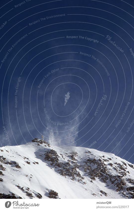 Gipfelkreuz. blau weiß ruhig Freiheit Landschaft oben Bewegung Wind hoch Klima Sturm Höhe Schneesturm Berge u. Gebirge Schneewehe