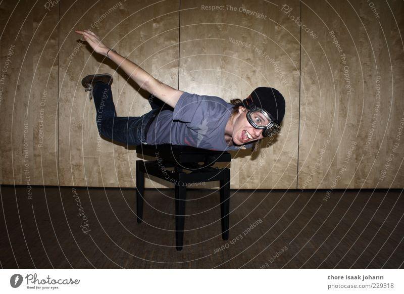 Zieh schon! Lifestyle Freizeit & Hobby Fallschirmspringer Mensch maskulin Junger Mann Jugendliche Mund 1 18-30 Jahre Erwachsene Brille gestellt Manipulation