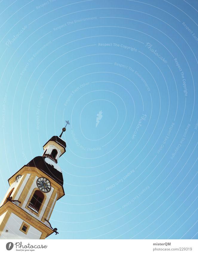 800 Einwohner. Himmel Kirche Turm Kreuz Wolkenloser Himmel himmelblau Kirchturm Kirchenstaat
