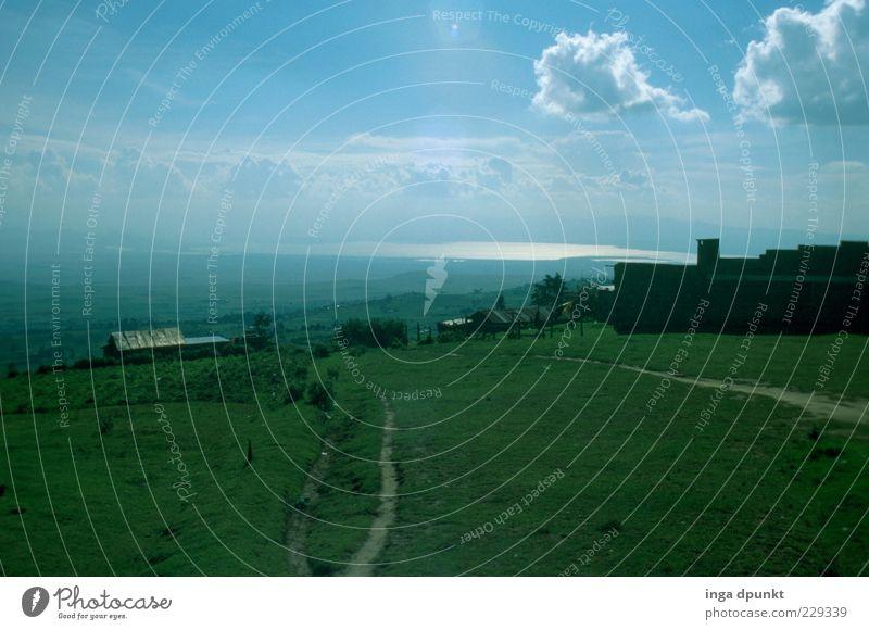 Umland Ferne Freiheit Kenia Afrika Bewässerung Umwelt Natur Landschaft Himmel Wolken Feld Seeufer Wachstum frisch Unendlichkeit blau grün Umweltverschmutzung