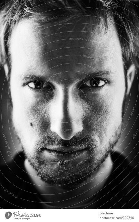 Photographer Mann Erwachsene Gesicht dunkel Denken warten maskulin ästhetisch Coolness Konzentration Bart Porträt Gesichtsausdruck ernst Selbstständigkeit