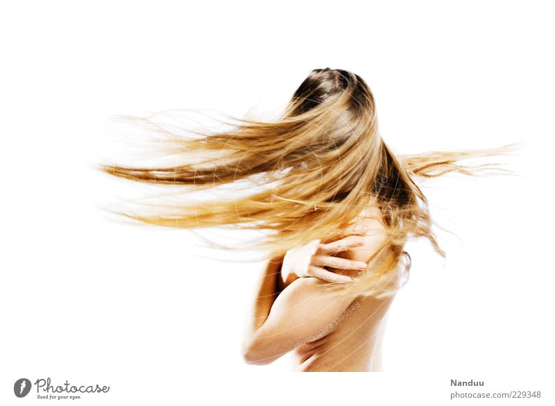 Kreisel Mensch feminin Kopf Haare & Frisuren blond drehen Dynamik Bewegungsunschärfe langhaarig Junge Frau Schwung Euphorie Behaarung Ausgelassenheit Haarsträhne schütteln