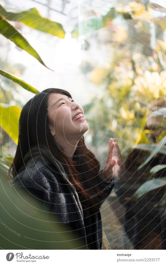 asiatische junge Frau lächelnd in der Natur Lifestyle exotisch Freude schön Gesundheit Gesundheitswesen Wellness Leben Ferien & Urlaub & Reisen Tourismus