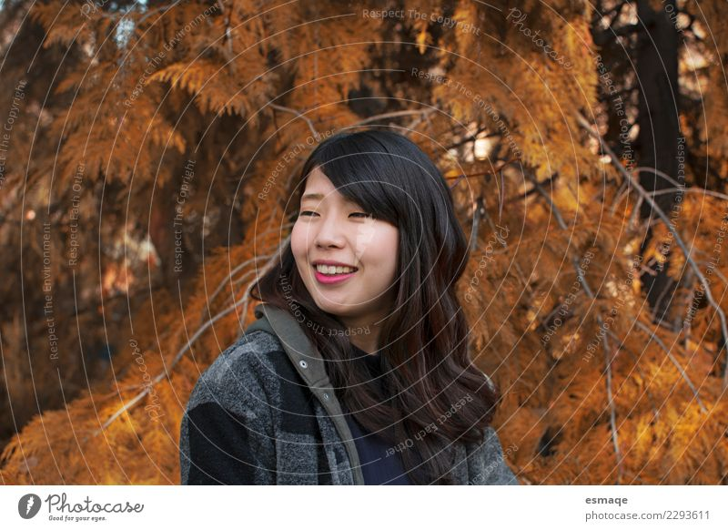 Portrait des glücklichen asiatischen Mädchens in der Natur Lifestyle exotisch Freude Wellness Leben harmonisch Winter Winterurlaub Mensch feminin Junge Frau