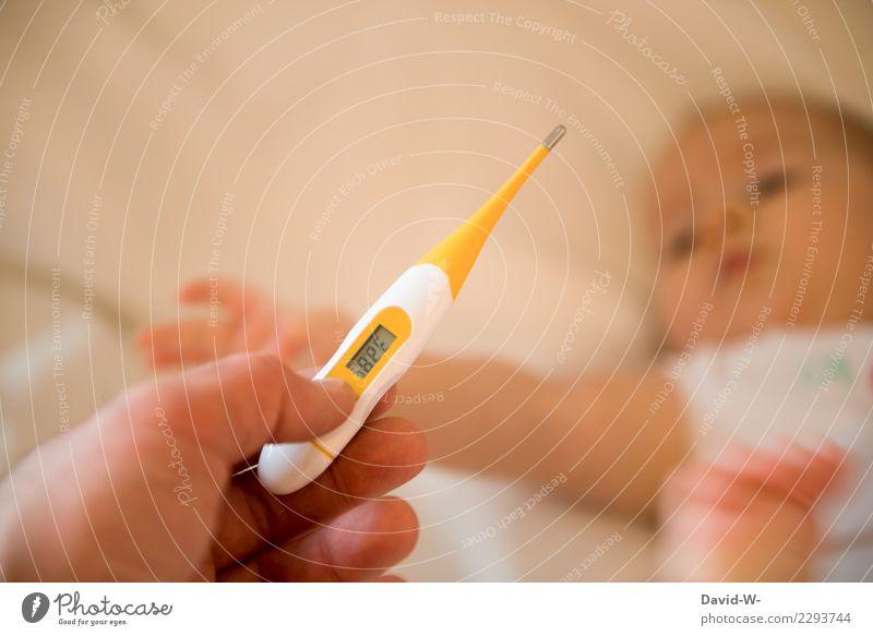 Temperatur messen Gesundheit Gesundheitswesen Behandlung Krankheit Medikament Wohnung Mensch feminin Kind Baby Kleinkind Kindheit Leben Körper 1 0-12 Monate