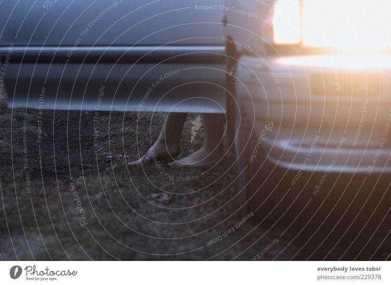 twilight Mensch Leben Fuß 1 Natur Erde Nebel Gras Autofahren Fahrzeug PKW frieren laufen stehen außergewöhnlich kalt Gefühle Stimmung Sorge Sehnsucht verstört