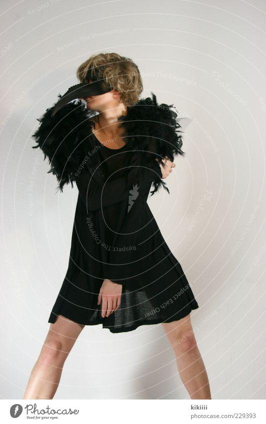 Transparenz weiß schwarz Mode stehen Körperhaltung Feder Spitze Maske lang bizarr Schnabel Karnevalskostüm Kostüm verkleiden Fabelwesen
