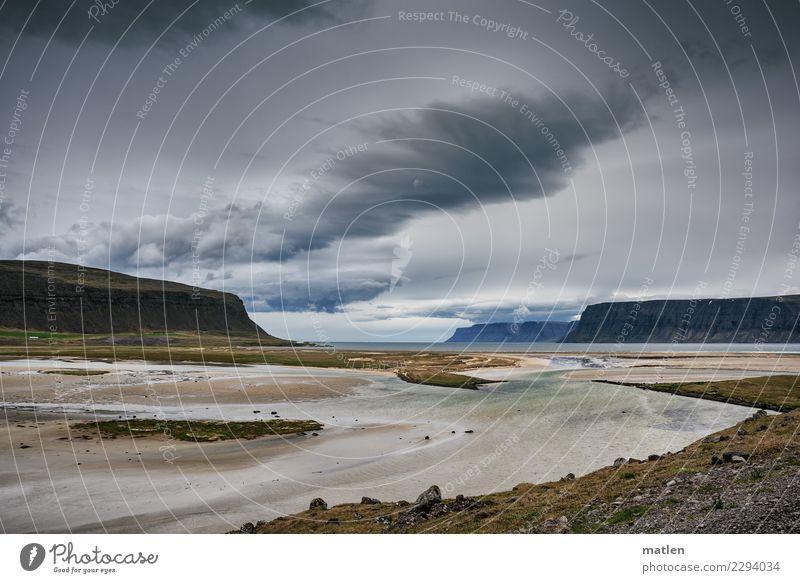 Mündung Natur Landschaft Sand Luft Wasser Himmel Wolken Gewitterwolken Horizont Frühling Wetter Wind Gras Berge u. Gebirge Küste Flussufer Strand Bucht Fjord
