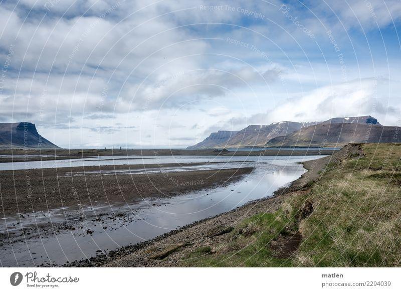 Mündung Landschaft Himmel Wolken Horizont Frühling Schönes Wetter Berge u. Gebirge Schneebedeckte Gipfel Küste Flussufer Strand Fjord Meer Menschenleer